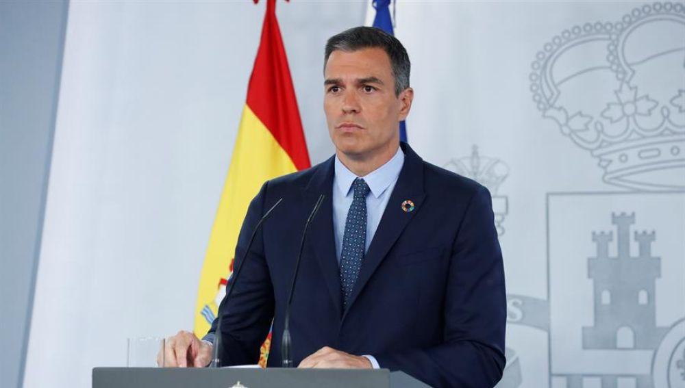 El presidente del Gobierno, Pedro Sánchez, durante su comparecencia ante los medios tras la reunión del Consejo de Ministros.