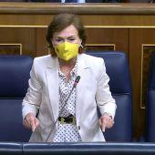 Carmen Calvo, durante la sesión de control al Gobierno