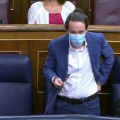 Pablo Iglesias, durante la sesión de control al Gobierno