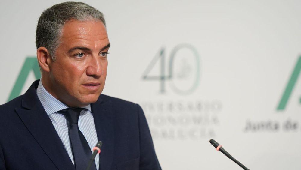 Elías Bendodo, consejero de Presidencia y portavoz del Gobierno andaluz en una imagen de archivo