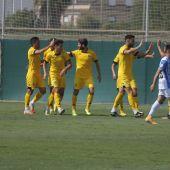La alegría del Hércules tras el gol de Benja al Baleares.