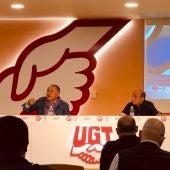 Pepe Alvarez Secretario General UGT y Daniel Alastuey Secretario General UGT Aragon