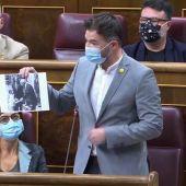 """Rufián: """"Vox tiene aquí 52 diputados, pero en total tiene 53 porque tiene uno en la Zarzuela"""""""