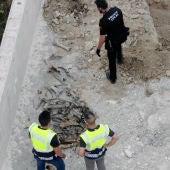 Agentes de la policía junto a restos óseos de animales encontrados en la finca del detenido en Elche.