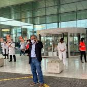 El presidente del Sindicato de Médicos, Miguel Lázaro, en la protesta de médicos