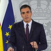 Pedro Sánchez comparece desde el Palacio de la Moncloa