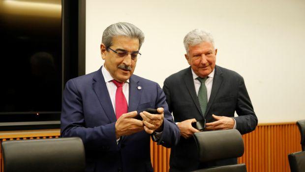 El vicepresidente de Canarias, Román Rodríguez y Pedro Quevedo