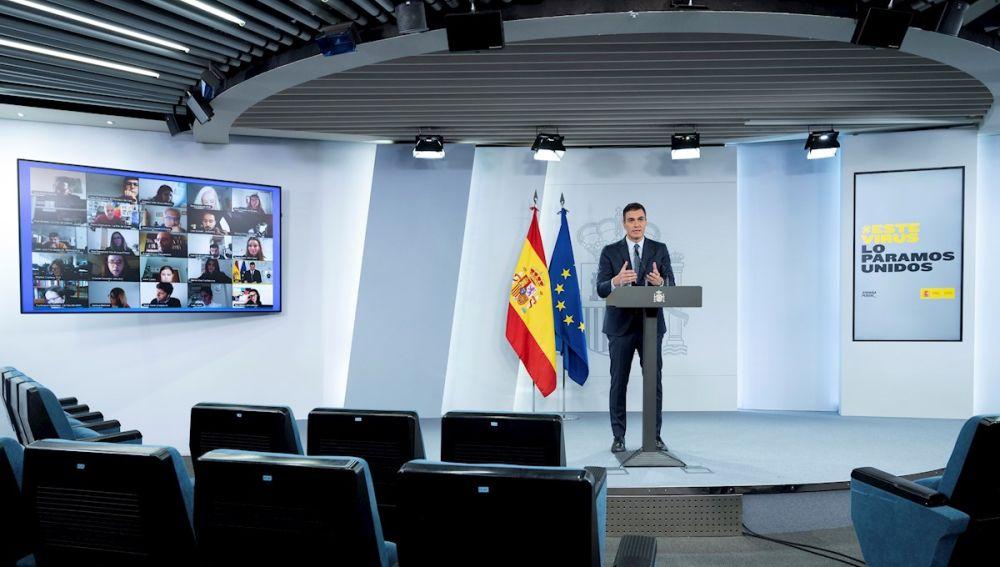 Imagen de Pedro Sánchez en rueda de prensa