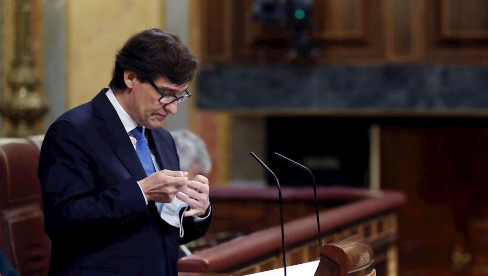 Salvador Illa, ministro de Sanidad, defiende en el Congreso el estado de alarma