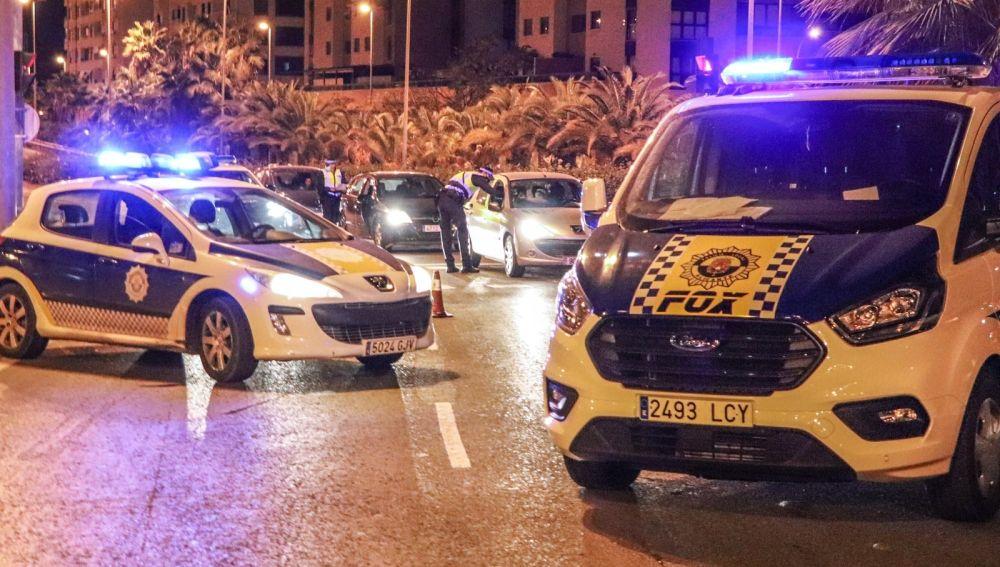 Uno de los controles de la Policía Local en Alicante