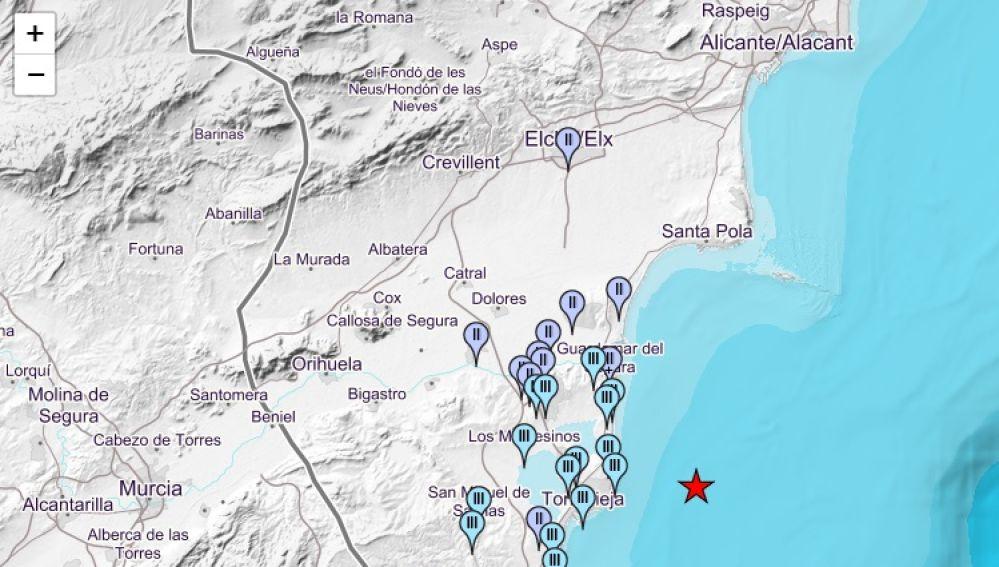 Mapa de intensidades del terremoto registrado en Torrevieja.