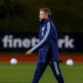 Luis Enrique, en un entrenamiento de la Selección Española.