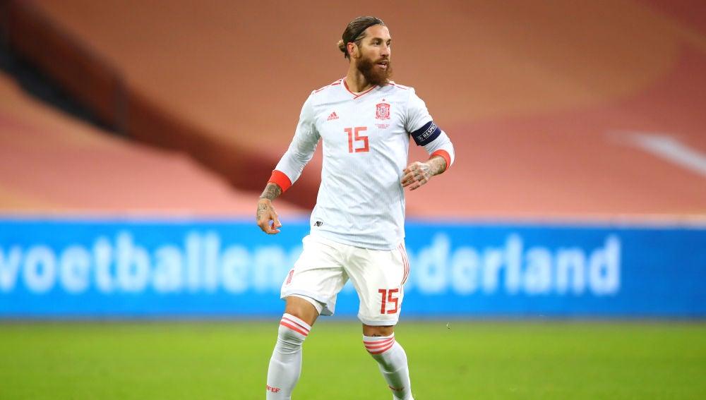 Sergio Ramos, en un partido de la selección española de fútbol.