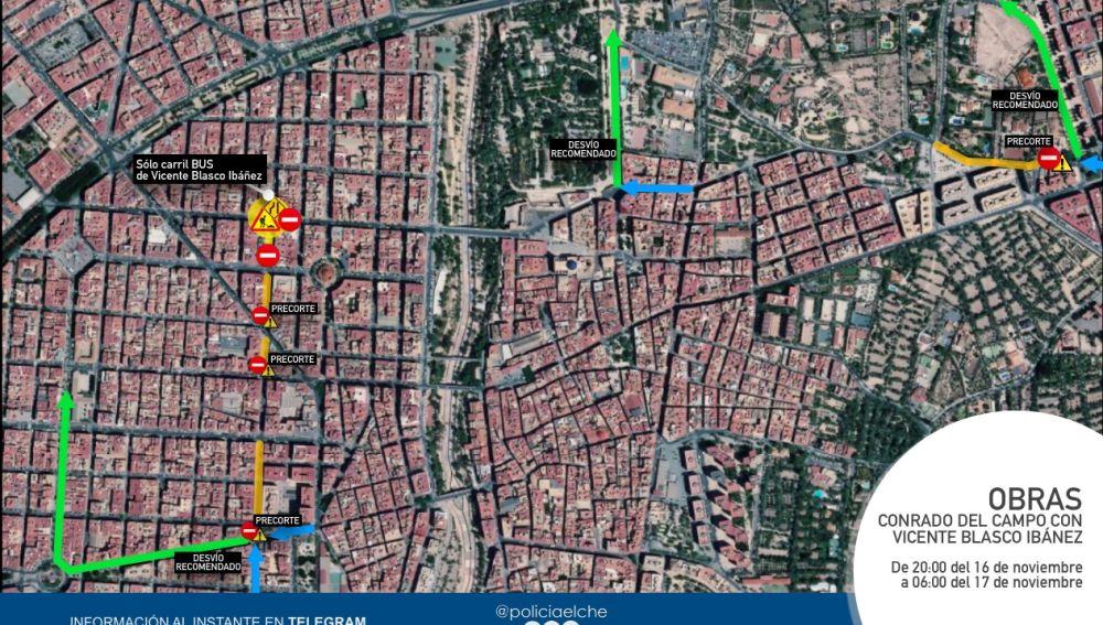 Plano de las calles en las que se va a cortar el tráfico en Elche.