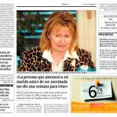 Detalle de la portada del diario El Mundo en la que se cuenta la historia de Mari Carmen Echevarría