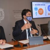 Sánchez, Barcala y López en la presentación del presupuesto 2021