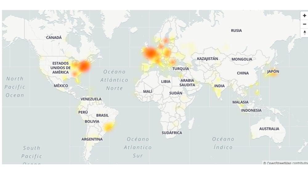 El mapa de la caída de Google según DownDetector