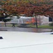 Una máquina barredora de LIPASSAM sale ardiendo en una céntrica avenida de la capital