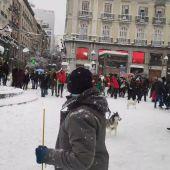 Guerra de bolas de nieve en Madrid