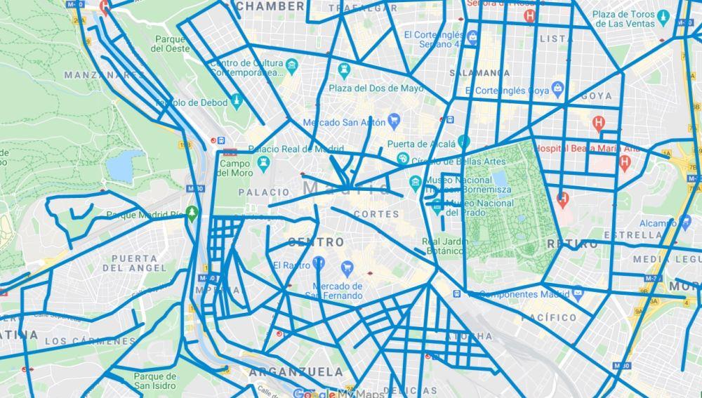 Mapa actualizado de calles cortadas por la nieve en Madrid hoy martes