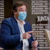 El presidente de la Junta de Extremadura confía en que la incidencia de contagios baje en los próximos días.