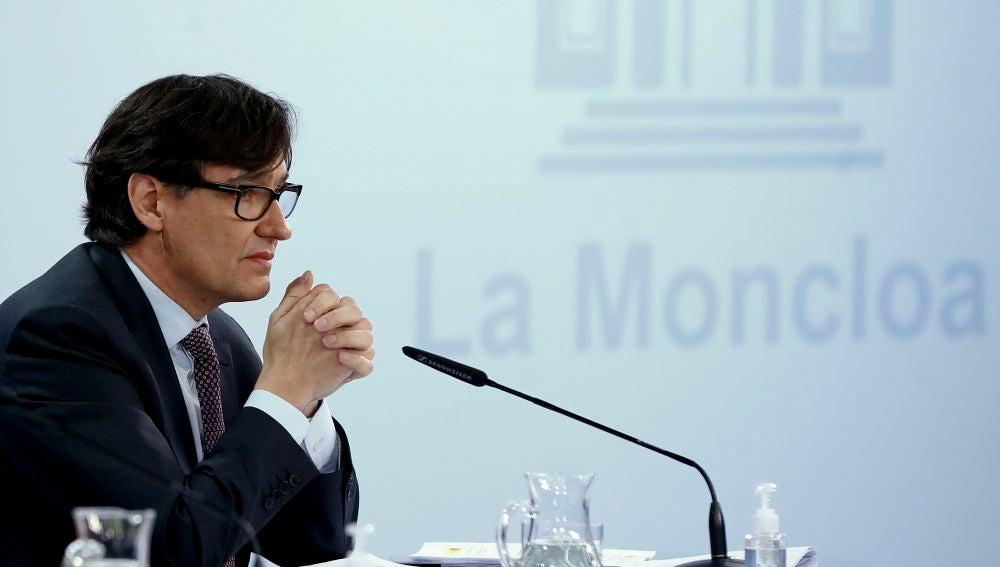 Salvador Illa, en una rueda de prensa en Moncloa.