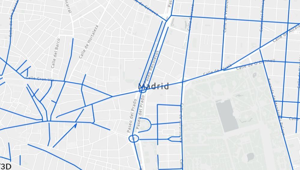 Mapa actualizado de calles cortadas por la nieve en Madrid.