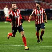 Saúl celebra uno de sus goles con el Atlético de Madrid.