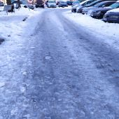 Calle con hielo en Alcalá de Henares