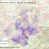 Mapa de distribución de coronavirus en Alcalá de Henares