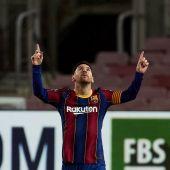 El jugador del Barcelona Leo Messi, celebra su gol contra el Athetic de Bilbao, en el partido correspondiente a la vigésimaprimera jornada de LaLiga Santander disputado en el Camp Nou. EFE/Alejandro García