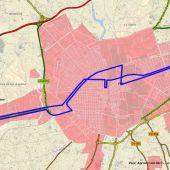 Plano de con el recorrido de la nueva línea de autobús urbano a la estación del AVE de Elche.