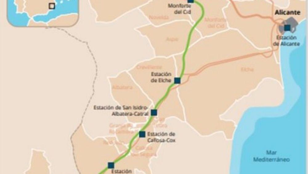 Trazado de la línea del AVE Madrid-Elche-Orihuela-Región de Mucia.