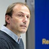 Francesc Arnau, en la rueda de prensa de valoración del cierre de mercado de fichajes del Real Oviedo