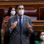 Pedro Sánchez, durante la sesión de control al Gobierno