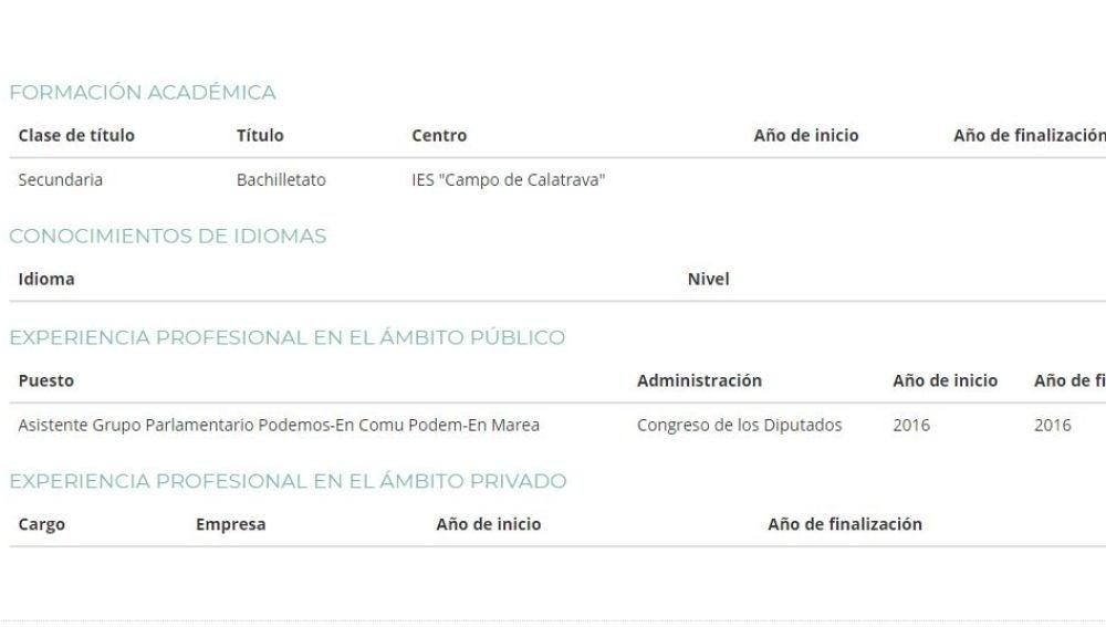 Currículum de Teresa Arévalo en la web de Podemos