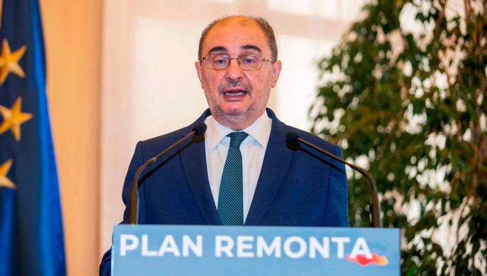 El presidente de Aragón, Javier Lambán, durante una rueda de prensa.