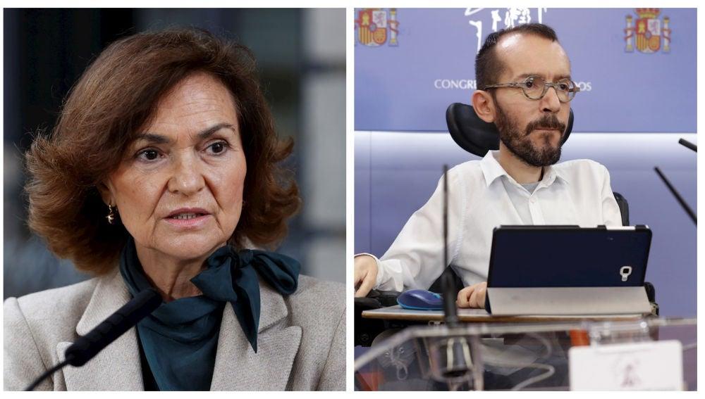 Carmen Calvo y Pablo Echenique en sendas imágenes de archivo