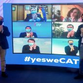 Alejandro Fernández y Pablo Casado en un acto electoral con los principales líderes populares autonómicos