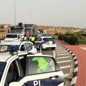 Control de la Policía Local de Elche durante el cierre perimetral de la ciudad.