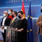 Rueda de prensa conjunta de fuerzas independentistas, soberanistas y republicanas en el Congreso.