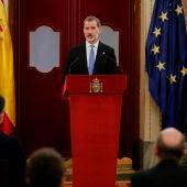 El rey Felipe VI, durante su discurso durante la ceremonia con motivo del 40 aniversario del 23F.