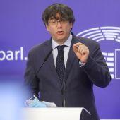 Puigdemont durante su rueda de prensa en Bruselas