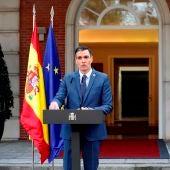 El presidente del Gobierno, Pedro Sánchez, comparece tras participar en el Palacio de la Moncloa.