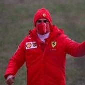 Carlos Sainz, durante una jornada de test con Ferrari.