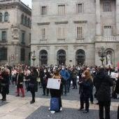 Manifestació de les agències de viatges a la Plaça Sant Jaume al mes de desembre