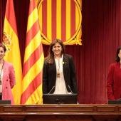 Laura Borràs, amb les vicepresidentes del Parlament Anna Caula i Eva Granados després de la constitució de la cambra.