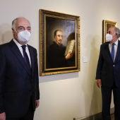 El presidente de Fundación Ibercaja, Amado Franco, el director general de Fundación, José Luis Rodrigo Escrig, y la directora del Museo Goya, Rosario Añaños.