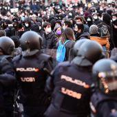 Manifestación no autorizada en apoyo a Pablo Hasel en Madrid