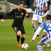 Messi en el partido del Barça contra la Real Sociedad